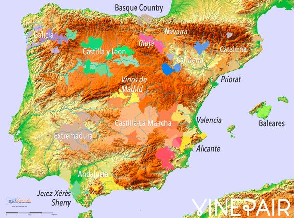 Карта виноделия Испании