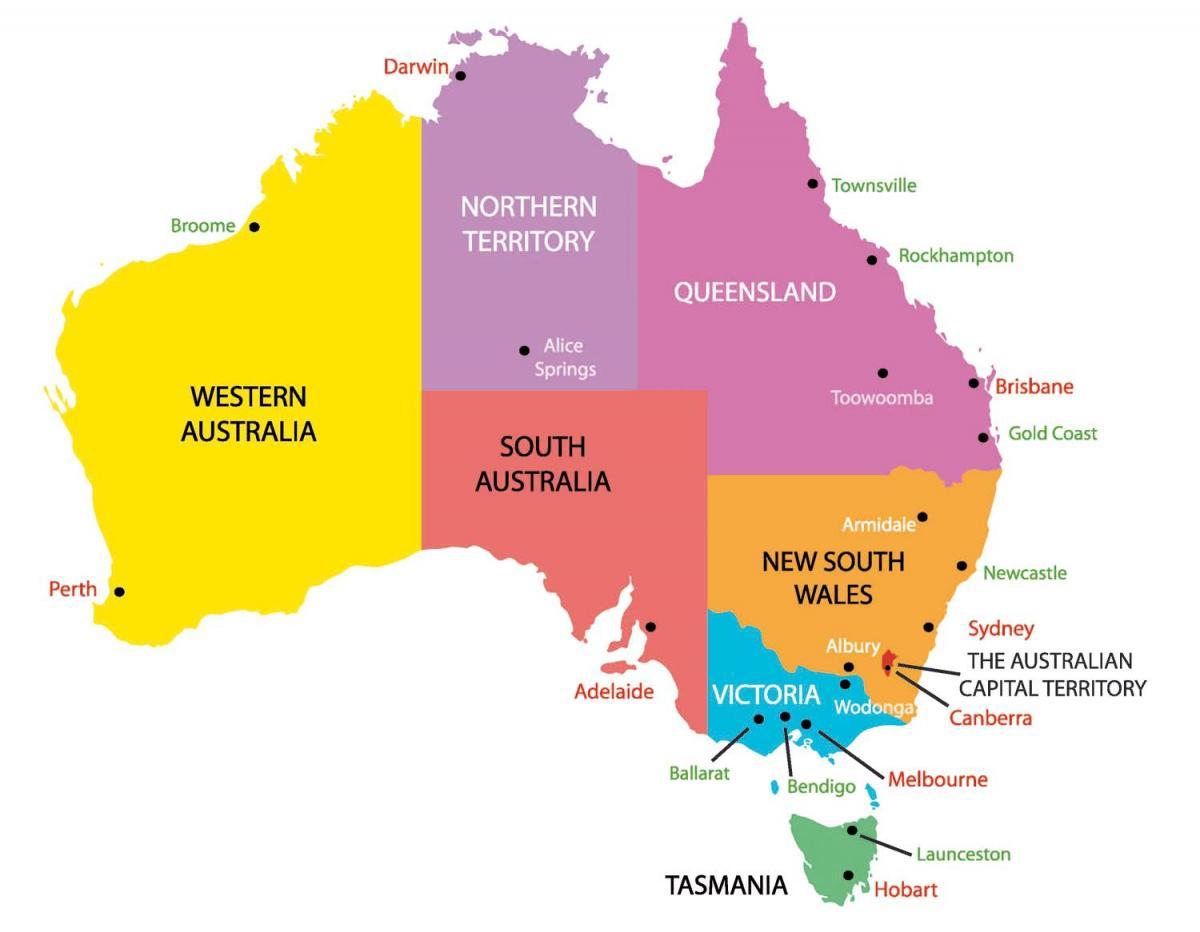 Карта штатов Австралии