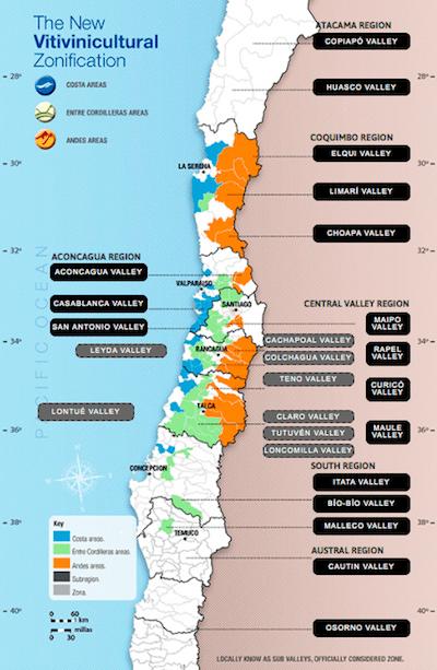 Карта винодельческих регионов Чили