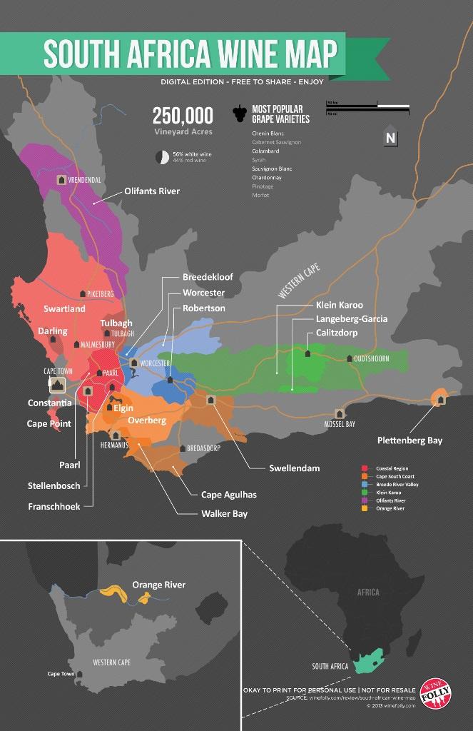 Карта винодельческих регионов Южной Африки