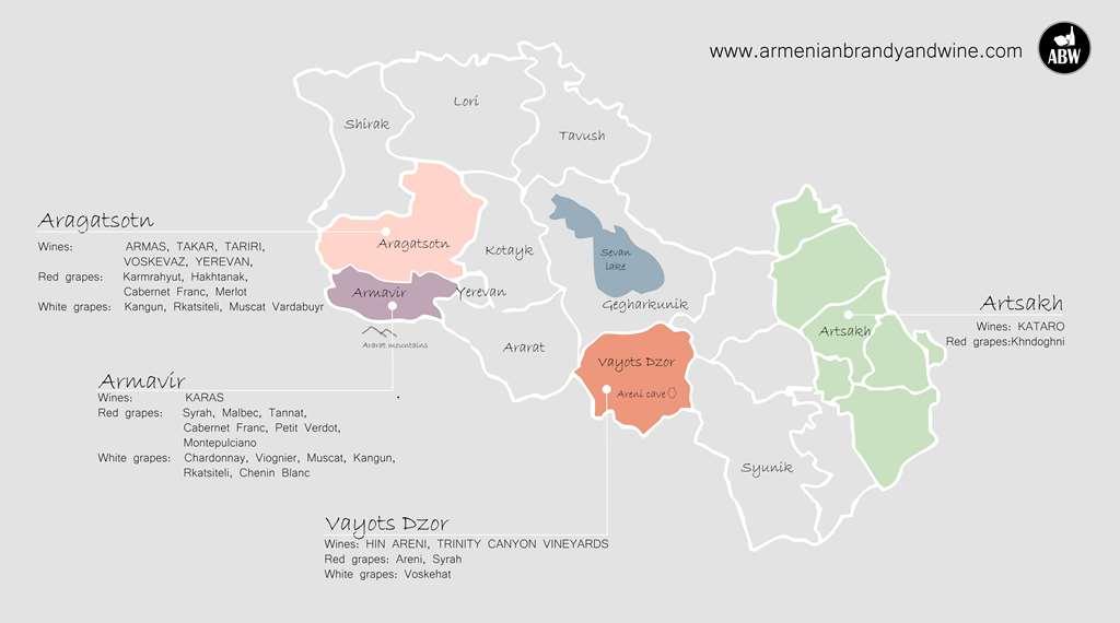 Карта винодельческих зон Армении